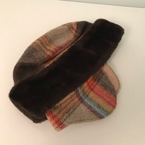 Vintage brown wool, warm winter hat with ear flaps